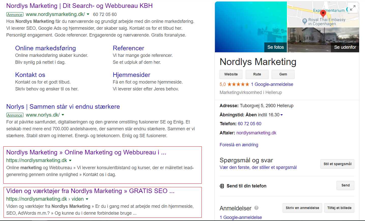 Screenshot af Google søgeresultat for Nordlys Marketing